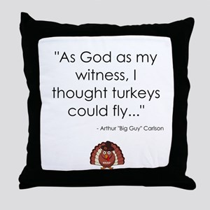 WKRP Turkeys Throw Pillow